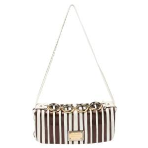 Dolce and Gabbana White/Metallic Leather Miss Deco Shoulder Bag