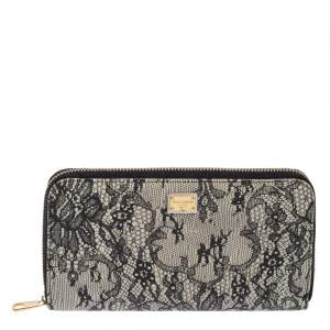 Dolce & Gabbana Black/White Lace Print Leather Zip Around  Wallet