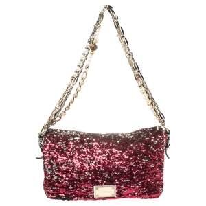 Dolce & Gabbana Red/White Sequin Miss Charles Shoulder Bag