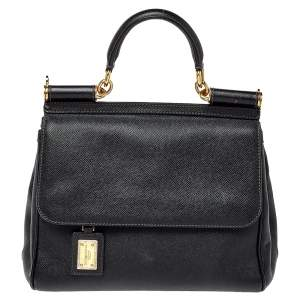 Dolce & Gabbana Black Leather Medium Sicily Top Handle Bag