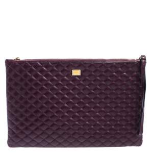Dolce & Gabbana Purple Quilted Leather Pouch