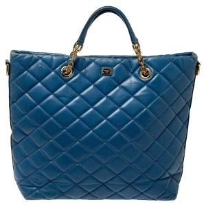 Dolce & Gabbana Blue Quilted Leather Shopper Tote