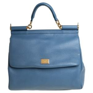 Dolce & Gabbana Blue Leather Large Sicily Top Handle Bag
