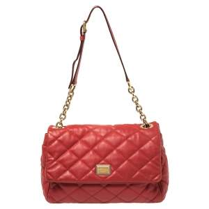 Dolce & Gabbana Red Quilted Leather Miss Kate Shoulder Bag