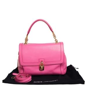 Dolce and Gabbana Pink Leather Padlock Top Handle Bag