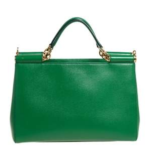 Dolce & Gabbana Green Leather Miss Sicily Double Handle Tote