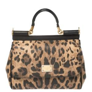 Dolce & Gabbana Brown/Black Leopard Print Coated Canvas and Leather Medium Miss Sicily Top Handle Bag
