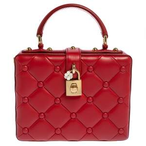 Dolce & Gabbana Red Quilted Leather Box Top Handle Bag