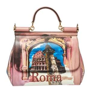 Dolce & Gabbana Multicolor Roma Print Leather Medium Miss Sicily Top Handle Bag