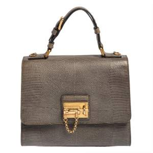 Dolce & Gabbana Grey Lizard Embossed Leather Medium Miss Monica Top Handle Bag