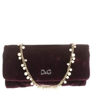 Dolce & Gabbana Purple Velvet Sasha Pearl Chain Bag