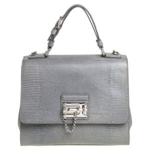 Dolce & Gabbana Stone Blue Lizard Embossed Leather Medium Miss Monica Top Handle Bag