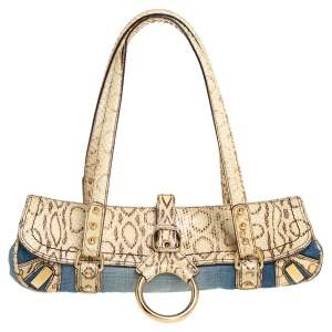 Dolce & Gabbana Blue/Cream Denim and Snakeskin D Ring Flap Satchel