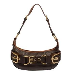 Dolce & Gabbana Brown Leather Buckle Baguette Bag