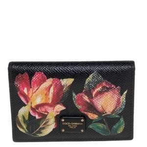 Dolce & Gabbana Black Floral Print Card Case