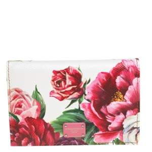 Dolce & Gabbana White Floral Print Leather Flap Card Case