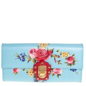 Dolce & Gabbana Multicolor Floral Print Leather Lucia Continental Wallet