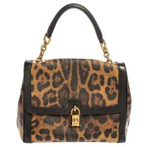 Dolce & Gabbana Brown Leopard Print Coated Canvas Padlock Shoulder Bag