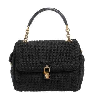 Dolce & Gabbana Black Crochet Fabric and Snakeskin Padlock Top Handle Bag