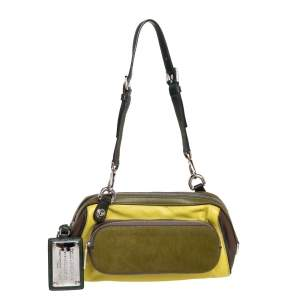 Dolce & Gabbana Green/Brown Leather and Calfhair Miss Pocket Bag