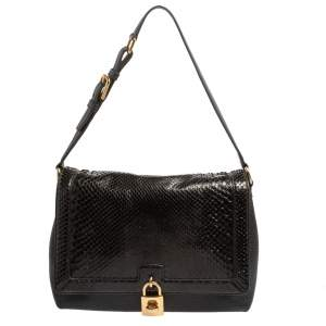 Dolce and Gabbana Black Python and Leather Padlock Shoulder Bag