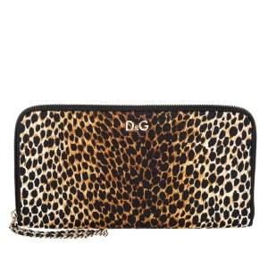 Dolce and Gabbana Brown Leopard Fabric Clutch