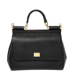 Dolce & Gabbana Black Leather Medium Miss Sicily Top Handle Bag