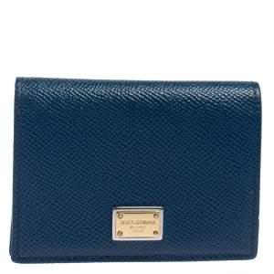 Dolce & Gabbana Blue Leather Flap Card Holder