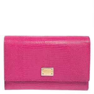 Dolce & Gabbana Pink Lizard Embossed Leather Trifold Wallet