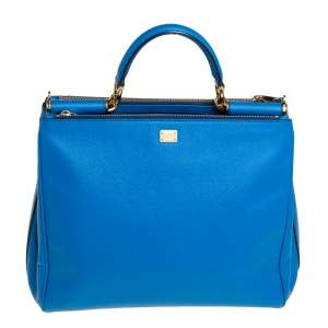 Dolce & Gabbana Azure Blue Leather Miss Sicily Double Zip Top Handle Bag