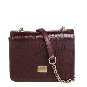 Dolce & Gabbana Burgundy Croc Embossed Leather Flap Chain Crossbody Bag