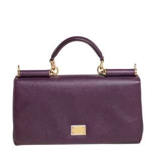 Dolce & Gabbana Purple Leather Top Handle Bag