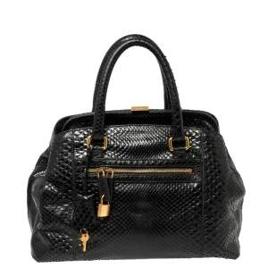 Dolce & Gabbana Black Python Leather Frame Satchel