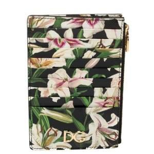 Dolce & Gabbana Multicolor Floral Print Leather Zip Card Holder
