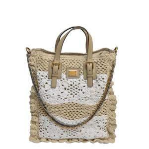 Dolce & Gabbana White and Beige Crochet Miss Helen Chain Bag