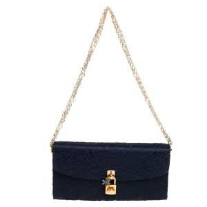 Dolce & Gabbana Dark Blue Lace and Satin Padlock Chain Clutch