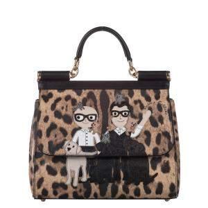 Dolce & Gabbana Brown Leopard Print Leather Miss Sicily Stefano Domenico Satchel Bag