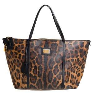 Dolce & Gabbana Brown/Black Leopard Print Coated Canvas and Leather Zip Tote