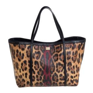 Dolce & Gabbana Brown/Black Leopard Print Coated Canvas and Leather Miss Escape Tote