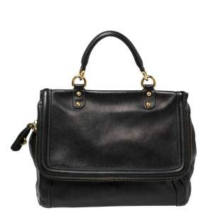 Dolce & Gabbana Black Leather Flap Top Handle Bag