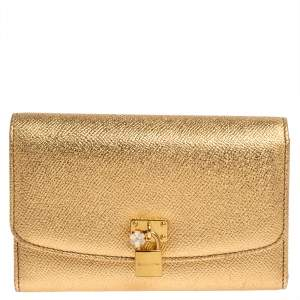 Dolce & Gabbana Gold Leather Padlock Trifold Compact Wallet
