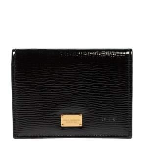 Dolce & Gabbana Black Patent Leather Dauphine Flap Card Holder