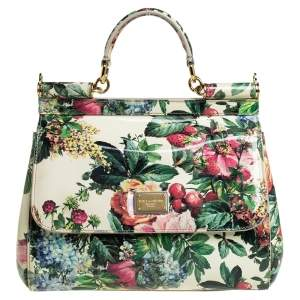 Dolce & Gabbana Multicolor Floral Print Patent Leather Medium Miss Sicily Top Handle Bag