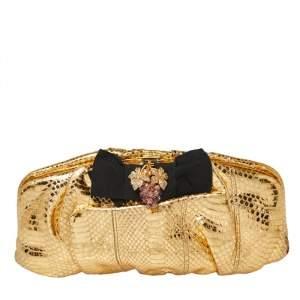 Dolce & Gabbana Gold Python Embellished Frame Clutch