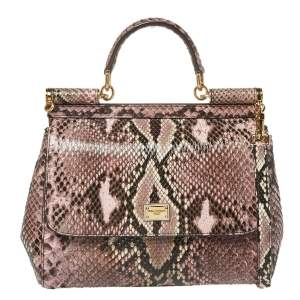 Dolce & Gabbana Multicolor Python Medium Miss Sicily Top Handle Bag