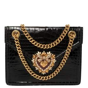 Dolce & Gabbana Black Crocodile Devotion Shoulder Bag