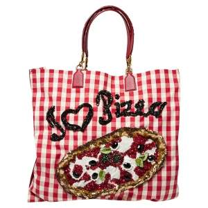 Dolce & Gabbana Red/White Gingham Fabric And Lizard Leather I Love Pizza Sequined Tote