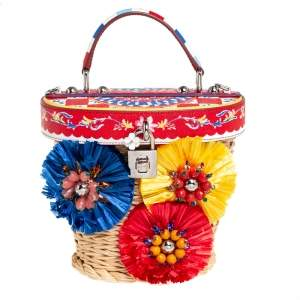 Dolce & Gabbana Multicolor Wicker, Leather and Straw Crystal Embellishment Bag