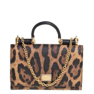 Dolce & Gabbana Leopard Print Coated Canvas and Leather Miss Sicily Wallet On Chain