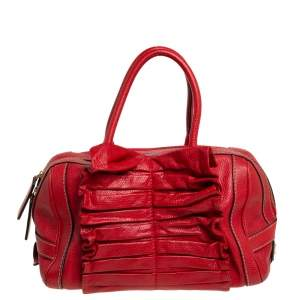 Dolce & Gabbana Red Grained Leather Ruffle Satchel